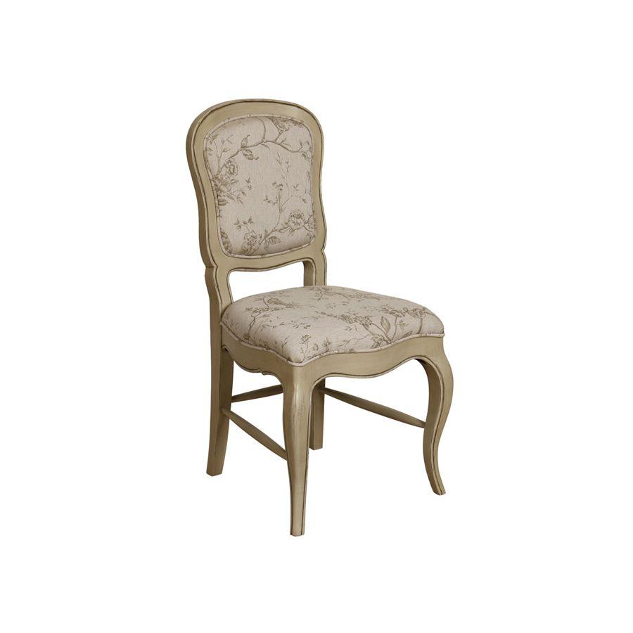 Chaise en hévéa massif et tissu paradisier - Éléonore
