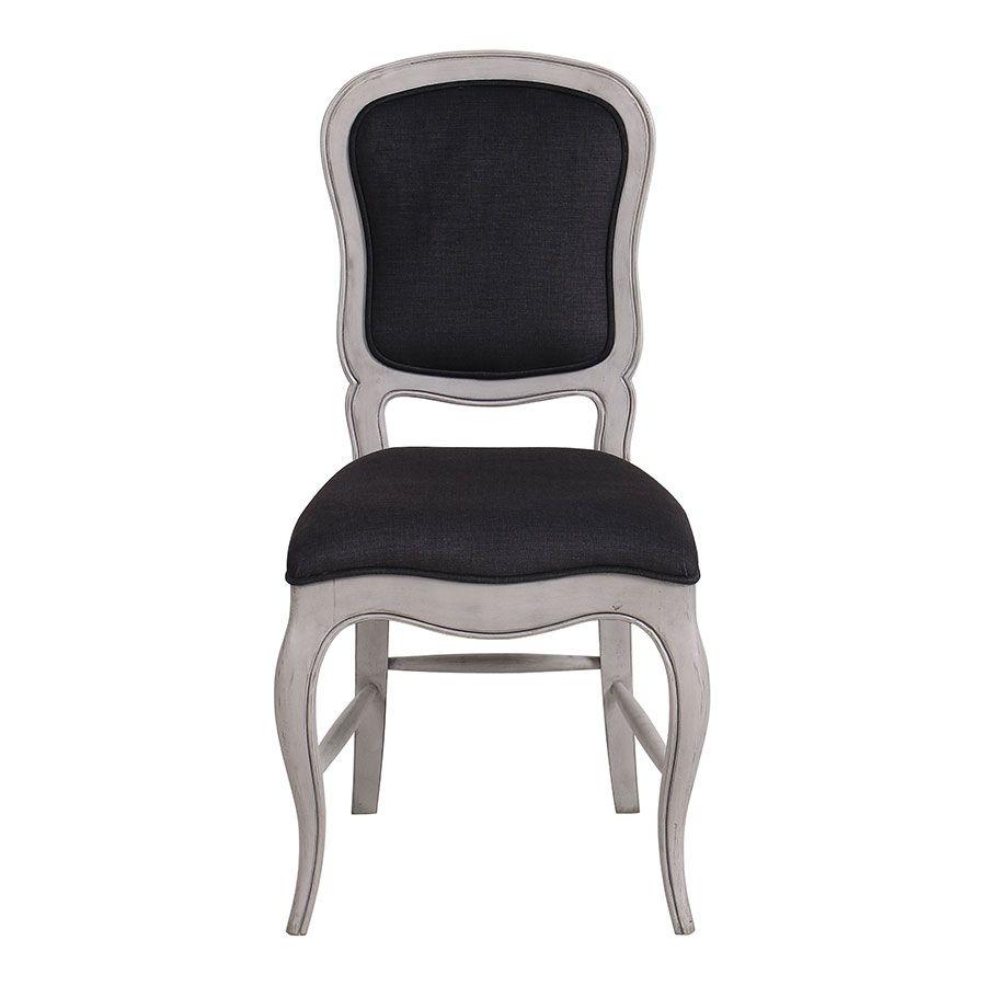 Chaise en hévéa massif et tissu gris toucher velours - Éléonore