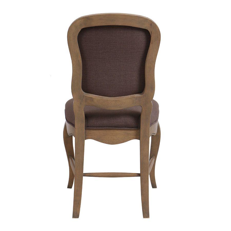 Chaise en hévéa massif et tissu marron glacé - Éléonore