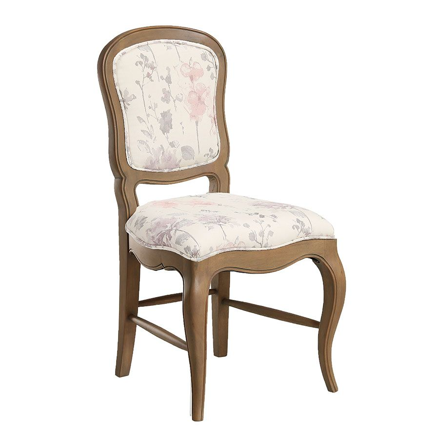 Chaise en frêne massif et tissu fleur opaline - Éléonore