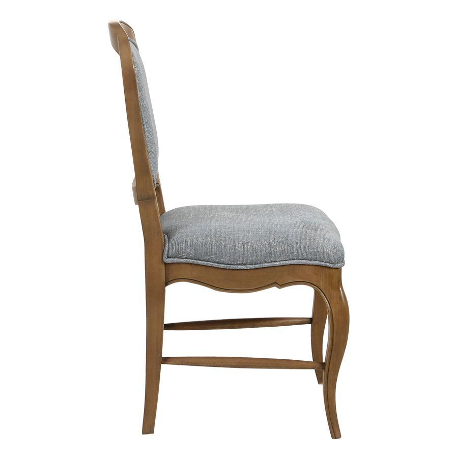 Chaise en tissu bleu chambray et frêne massif - Eléonore