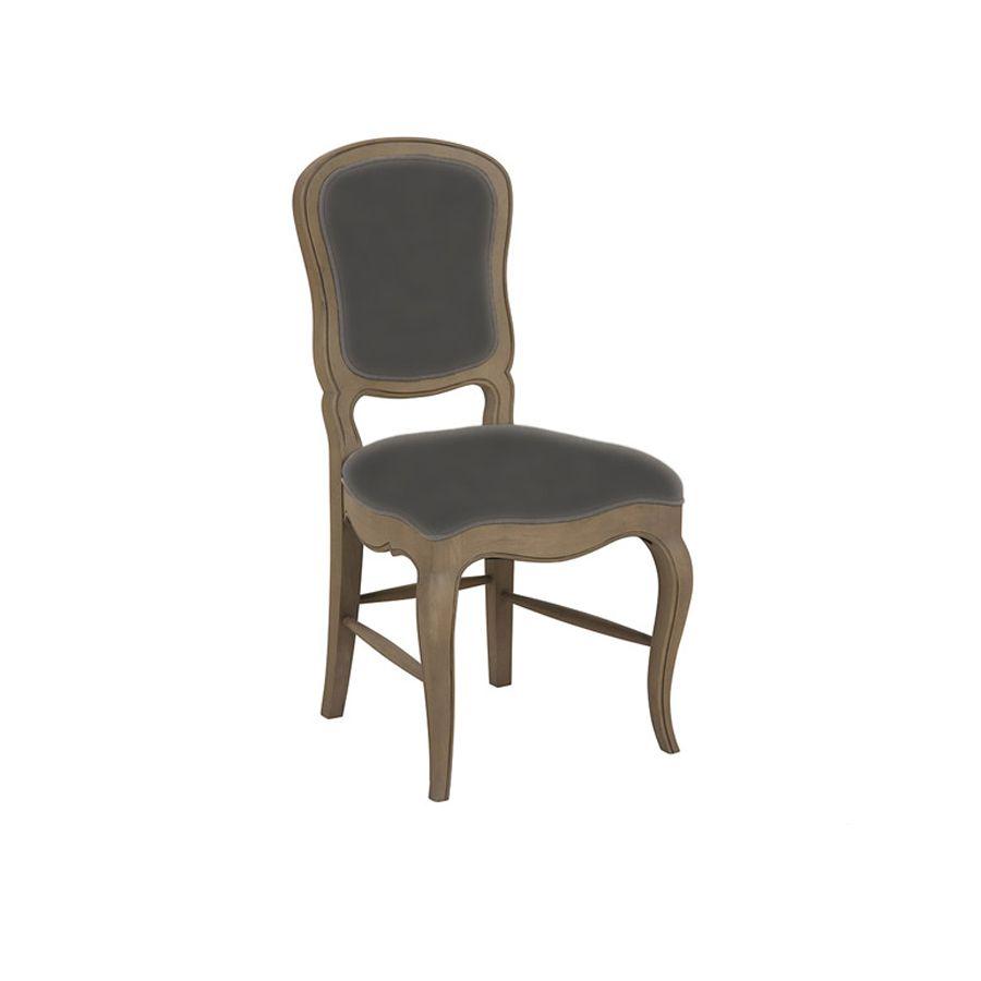 Chaise en hévéa massif et tissu noir - Éléonore
