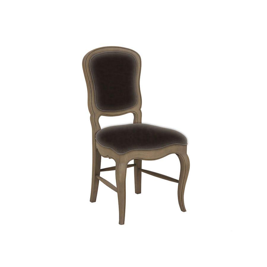 Chaise en hévéa massif et tissu éco cuir chocolat - Éléonore