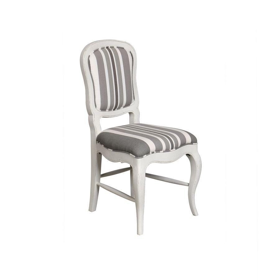 Chaise en hévéa massif et tissu bayadère gris - Éléonore