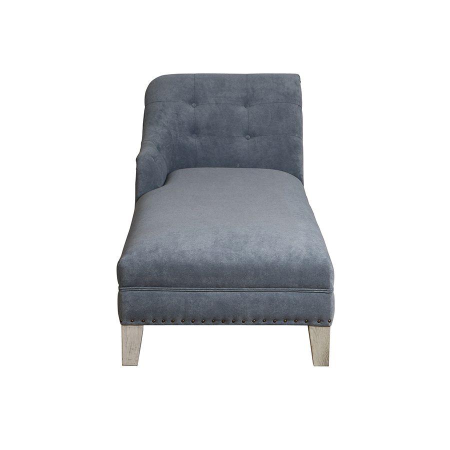 Méridienne droite en tissu Velours bleu gris et pieds gris argenté - Eugénie