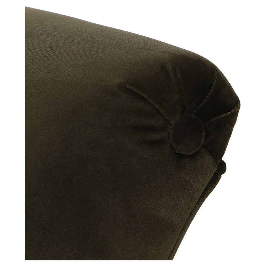 Méridienne droite en velours kaki et hévéa massif noir - Eugénie