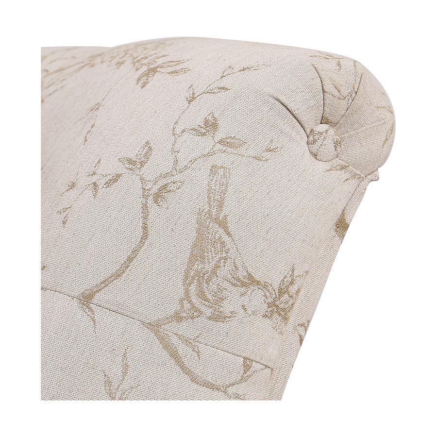 Méridienne droite en hévéa blanc et tissu paradisier - Eugénie