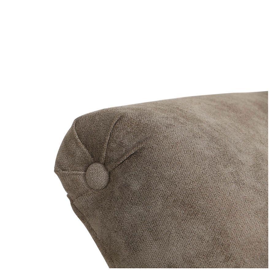 Méridienne gauche en tissu velours taupe - Eugénie