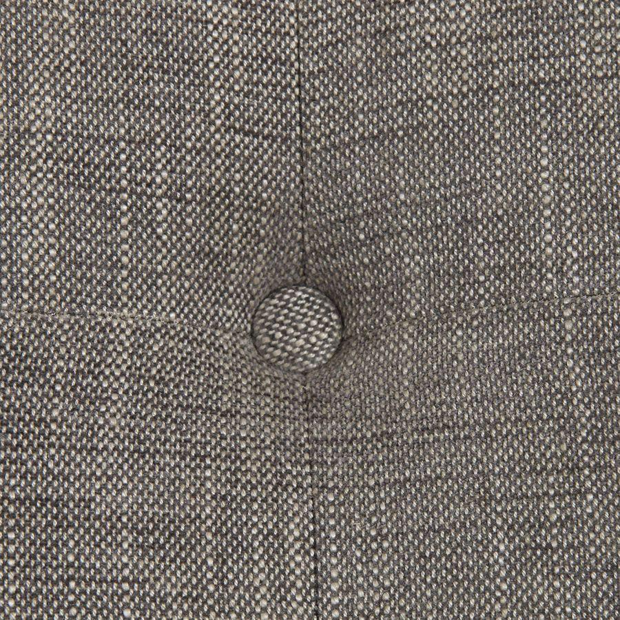 Méridienne gauche en hévéa blanc et tissu gris chambray - Eugénie