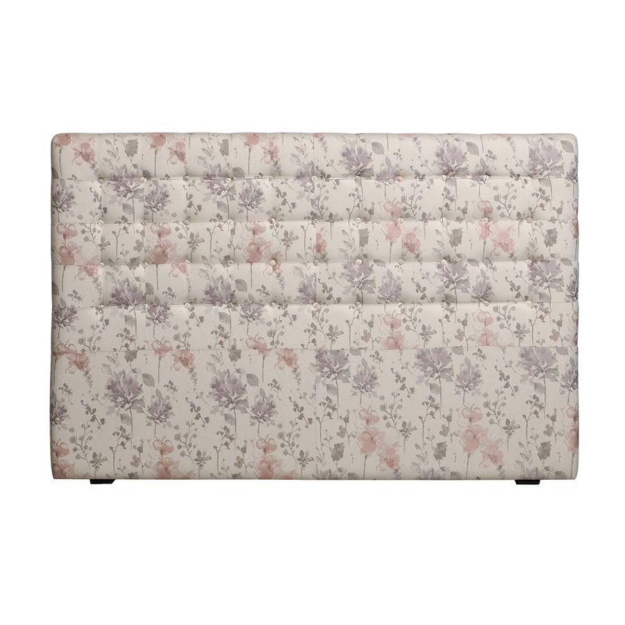 Tête de lit capitonnée 180 en hévéa et tissu fleurs opaline - Capucine