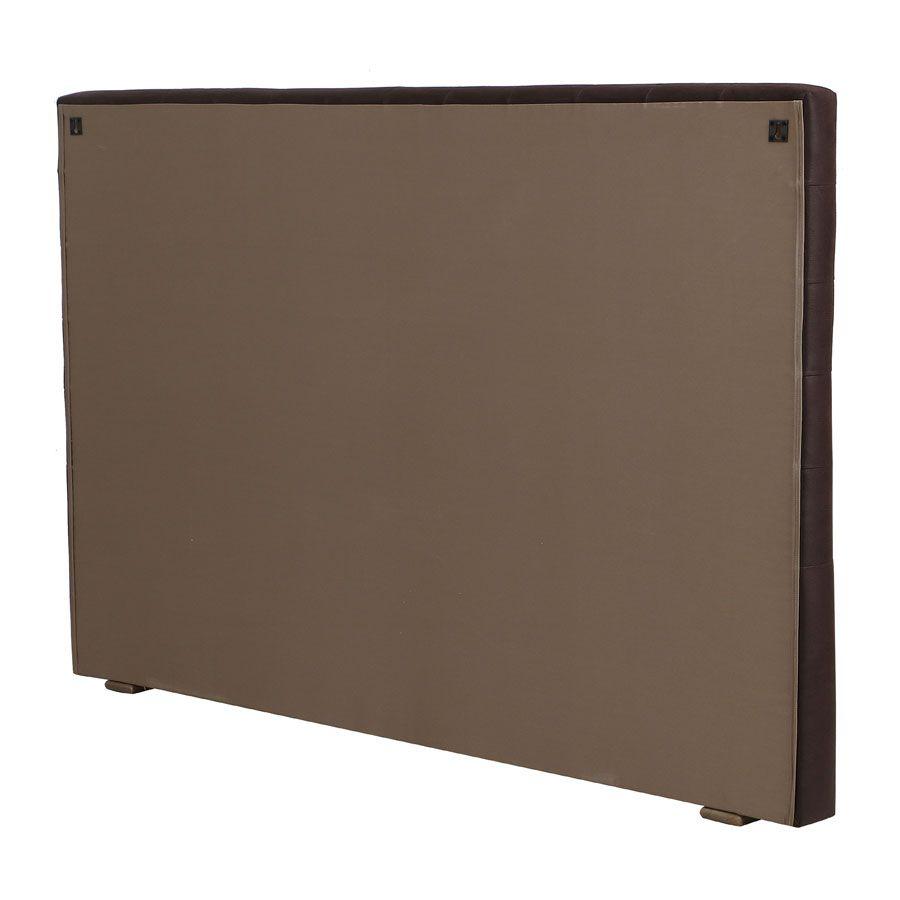 Tête de lit capitonnée 180 en frêne et tissu éco-cuir chocolat - Capucine
