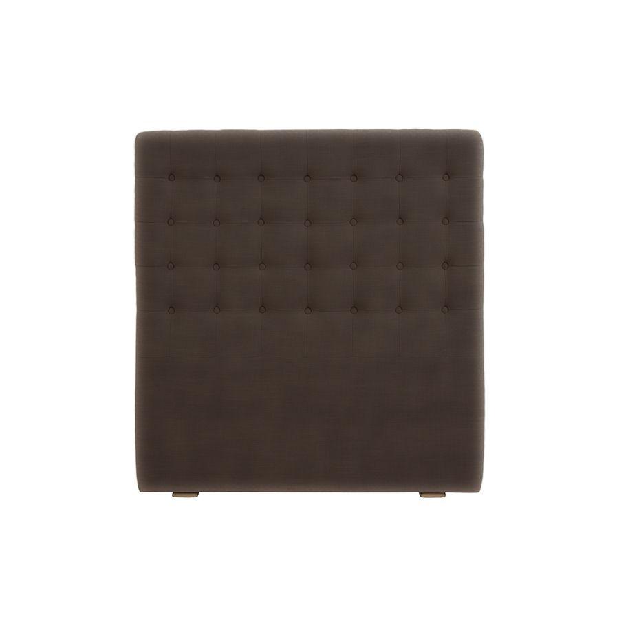Tête de lit capitonnée 90 en frêne et tissu marron - Capucine