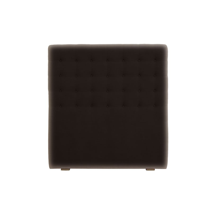Tête de lit capitonnée 90 en frêne et tissu éco-cuir chocolat - Capucine