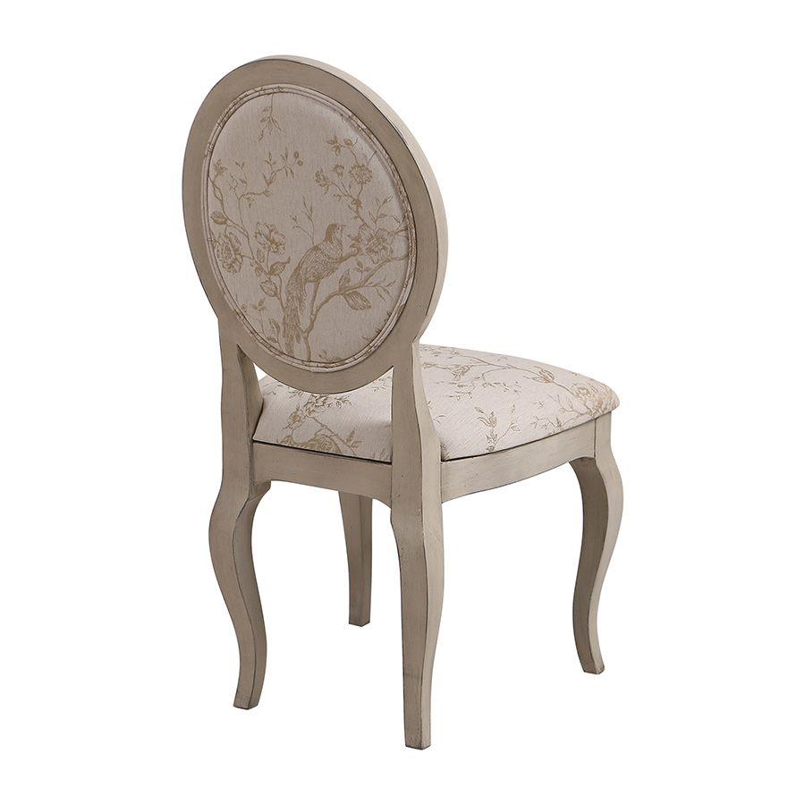 Chaise médaillon en tissu Paradisier - Hortense