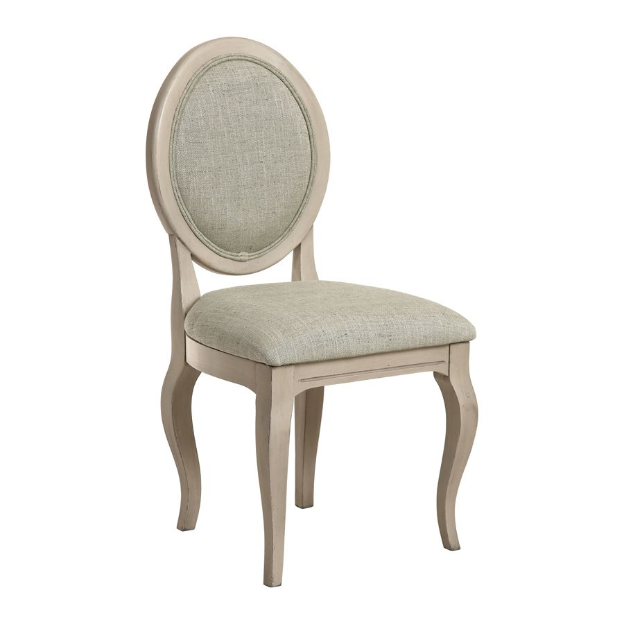 Chaise médaillon en tissu vert amande - Hortense