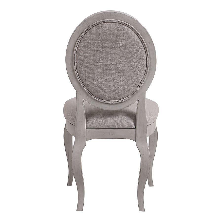 Chaise médaillon en tissu Lin beige et piétements gris argenté - Hortense