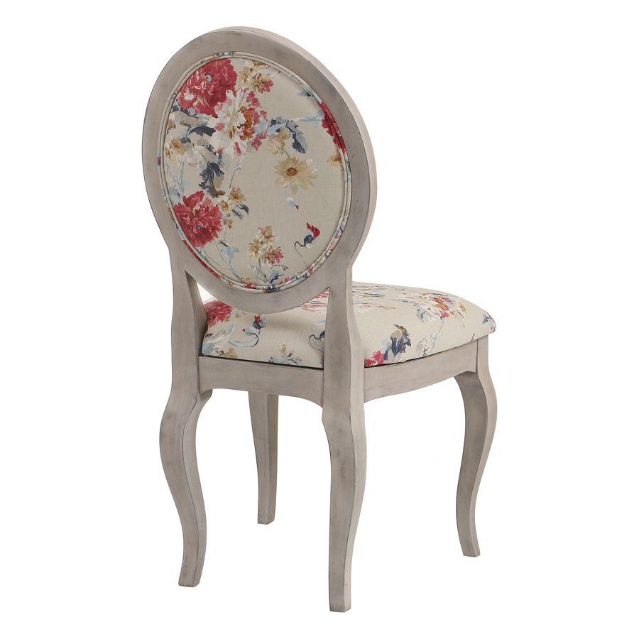 Chaise médaillon en tissu jardin anglais - Hortense