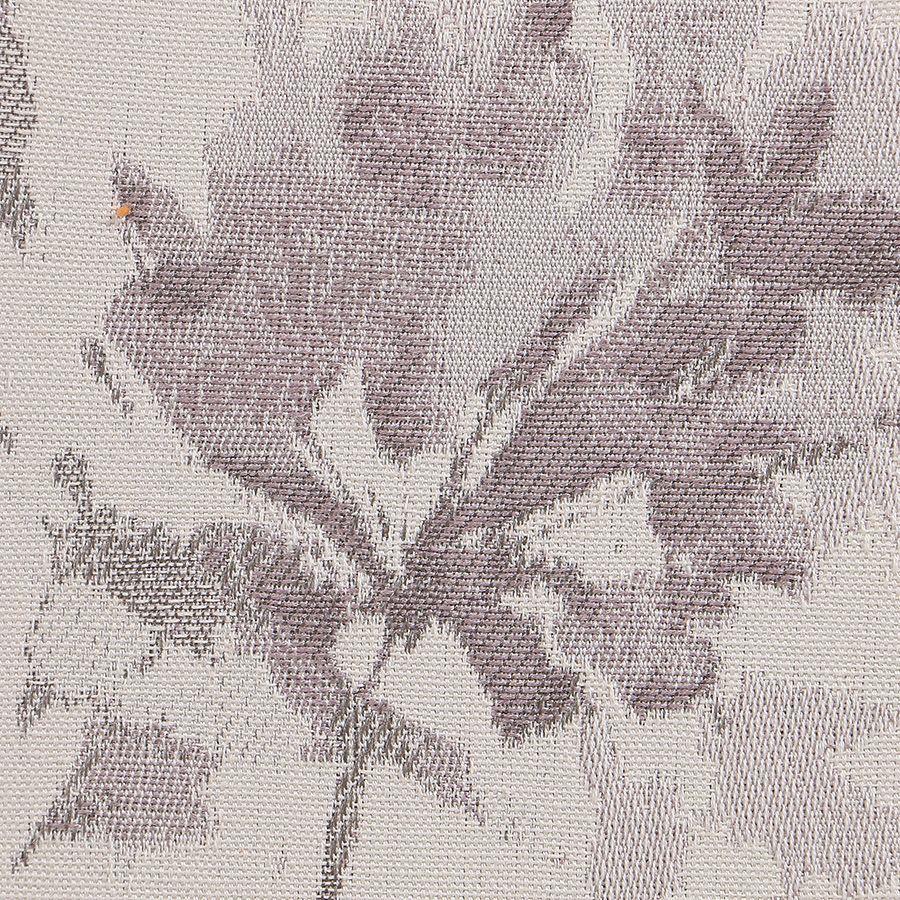 Chaise médaillon en tissu Fleurs opaline et hévéa gris argenté - Hortense