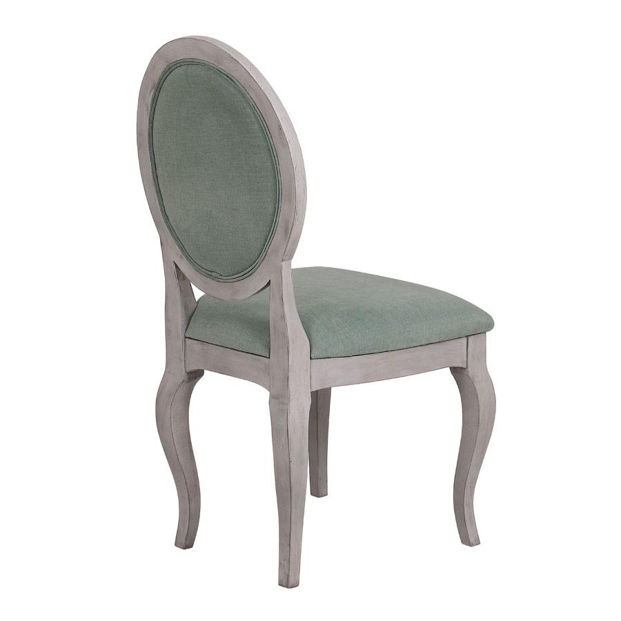 Chaise médaillon en tissu et hévéa - Hortense