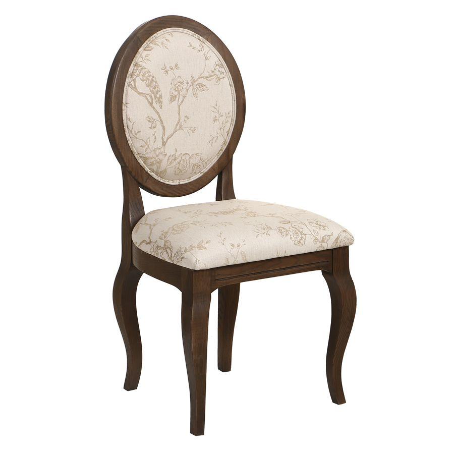 Chaise médaillon en tissu paradisier et frêne massif - Hortense
