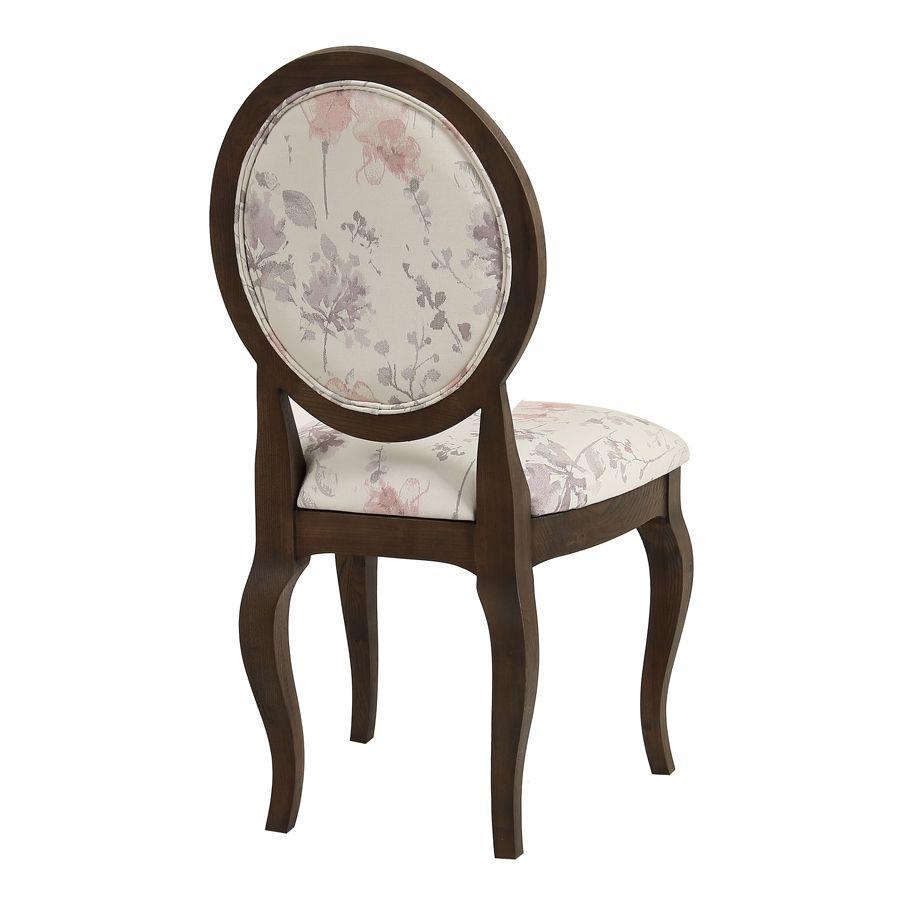 Chaise médaillon en tissu fleurs opaline - Hortense