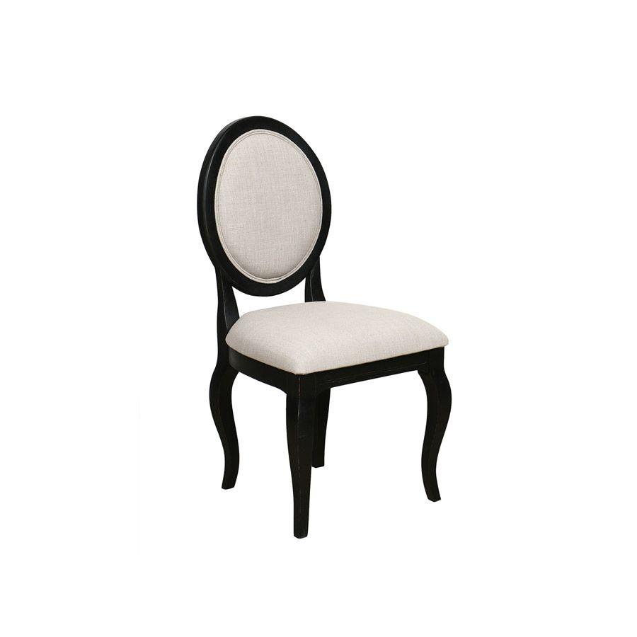Chaise médaillon en tissu beige - Hortense