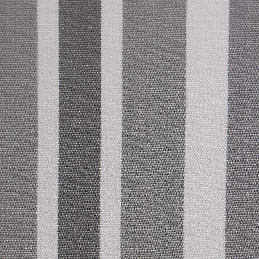 Chaise médaillon en tissu Bayadère gris et piétements noirs - Hortense