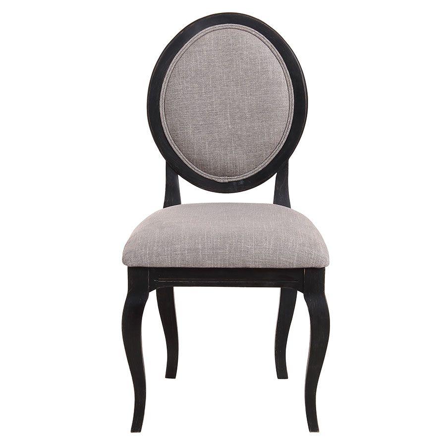 Chaise médaillon en tissu gris chambray - Hortense