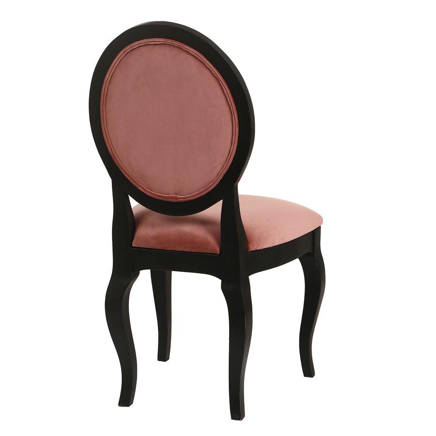 Chaise médaillon en velours rose et hévéa massif noir - Hortense