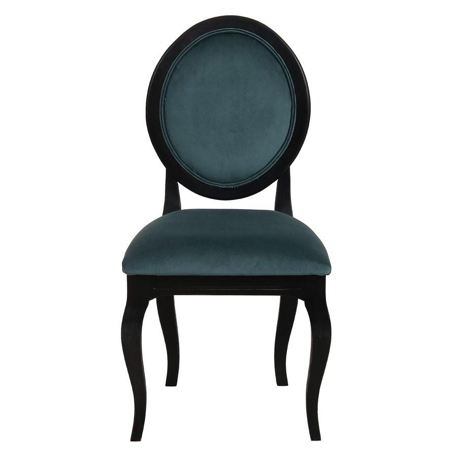 Chaise médaillon en tissu velours vert bleuté et bois noir - Hortense