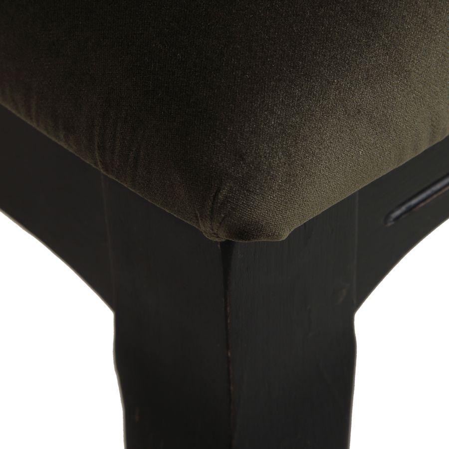 Chaise médaillon en tissu velours kaki - Hortense