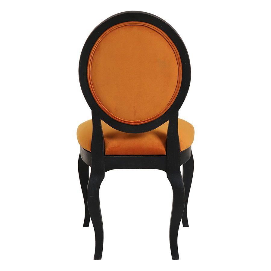 Chaise médaillon en tissu velours jaune safran - Hortense