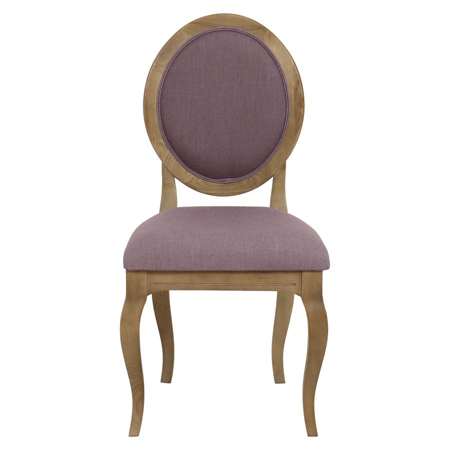 Chaise médaillon en tissu violet - Hortense
