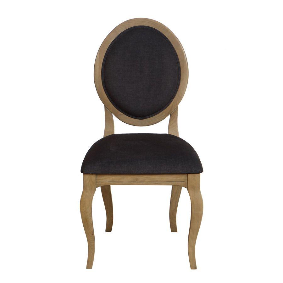 Chaise médaillon en tissu gris - Hortense