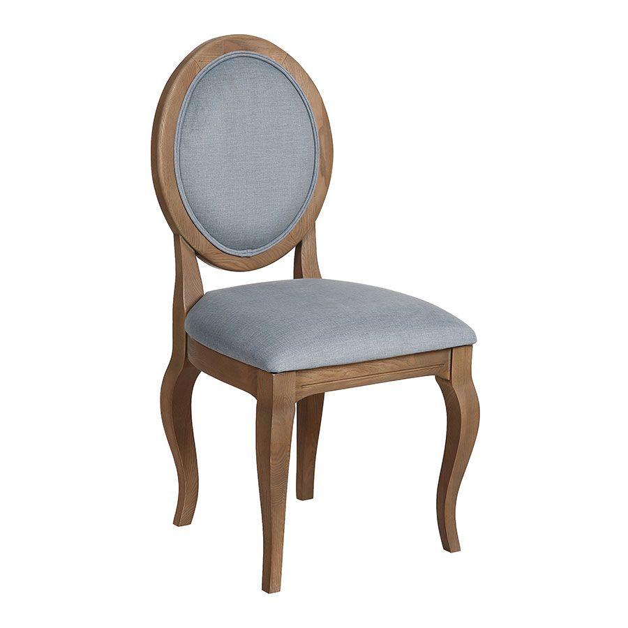 Chaise médaillon en tissu vert sauge - Hortense