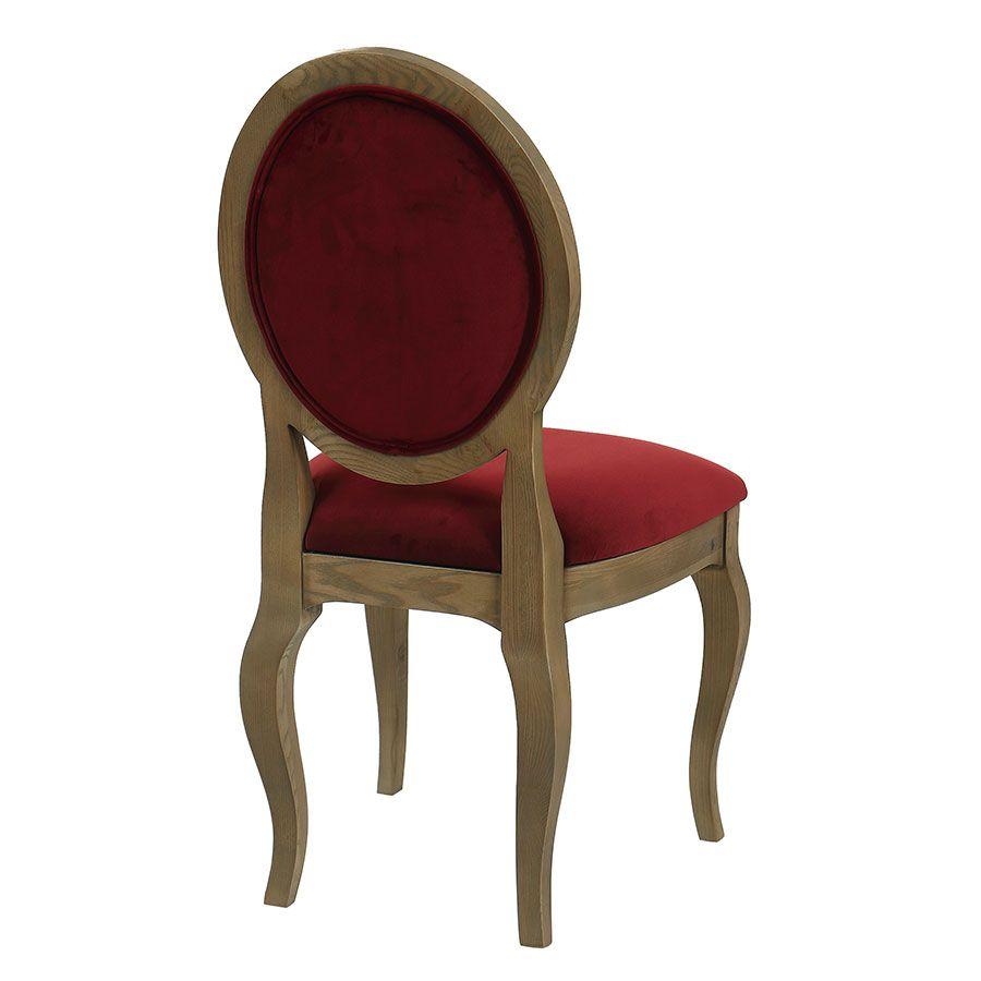 Chaise médaillon en velours lie de vin - Hortense