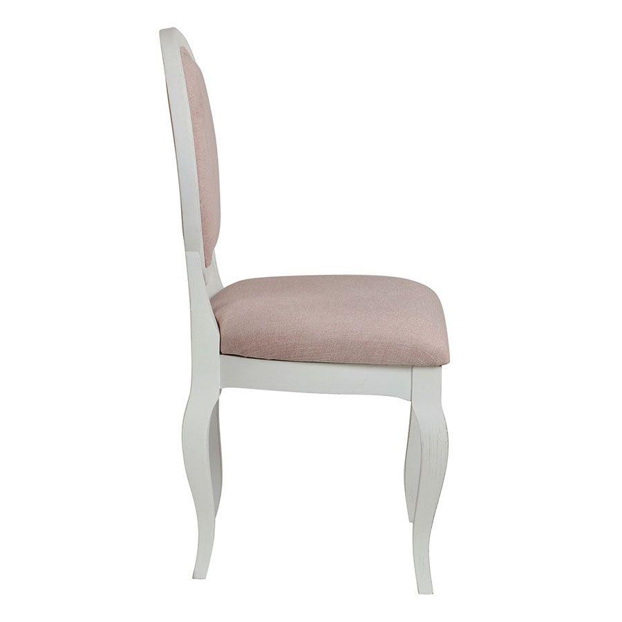 Chaise médaillon en tissu vieux rose et hévéa blanc - Hortense