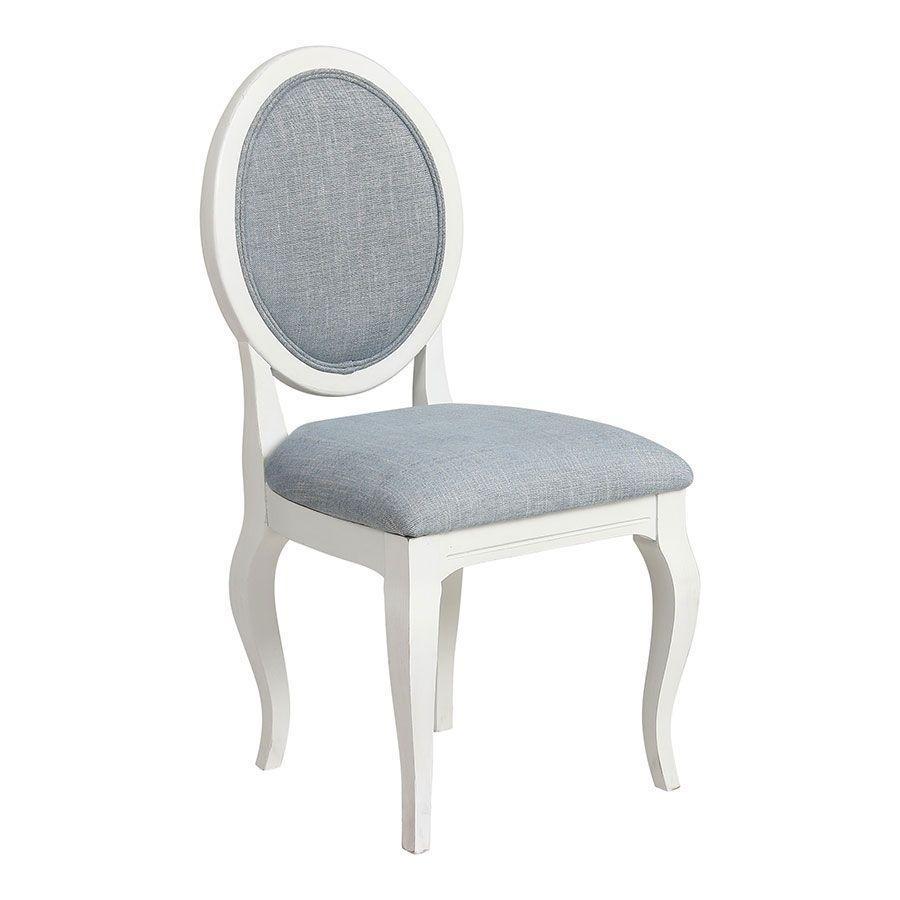Chaise médaillon en tissu bleu chambray - Hortense