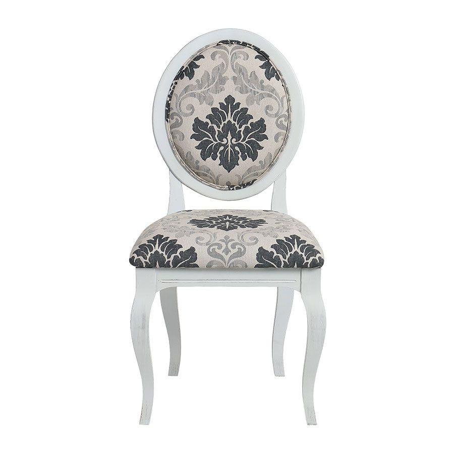 Chaise médaillon en tissu arabesque - Hortense