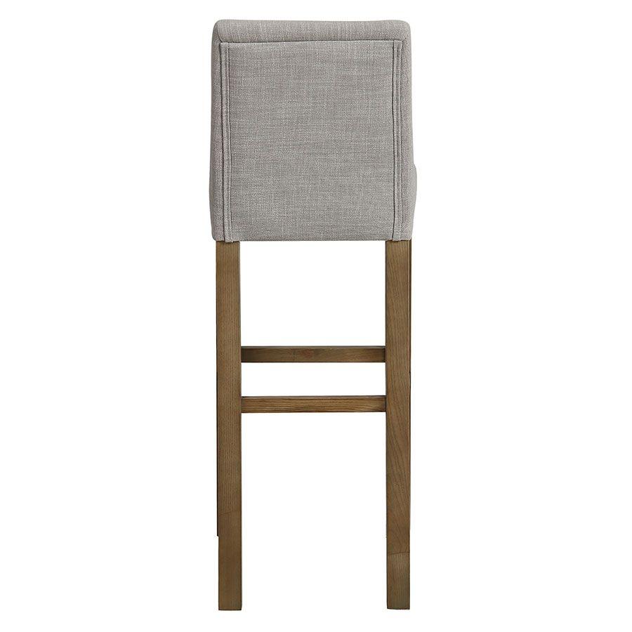Chaise haute en tissu lin beige et frêne