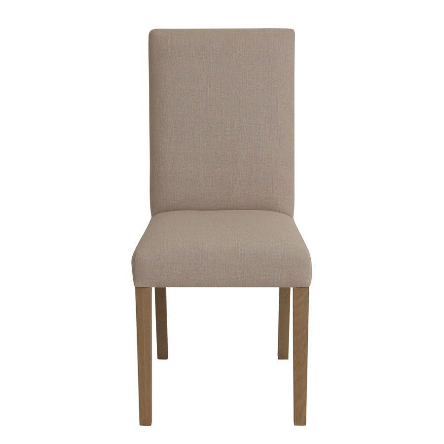 Chaise en frêne massif et tissu beige - Romane