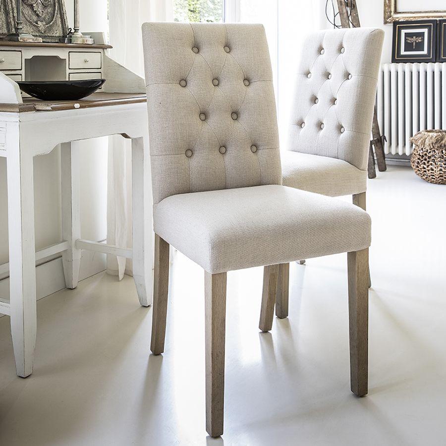 Chaise capitonnée en tissu beige et frêne - Albane
