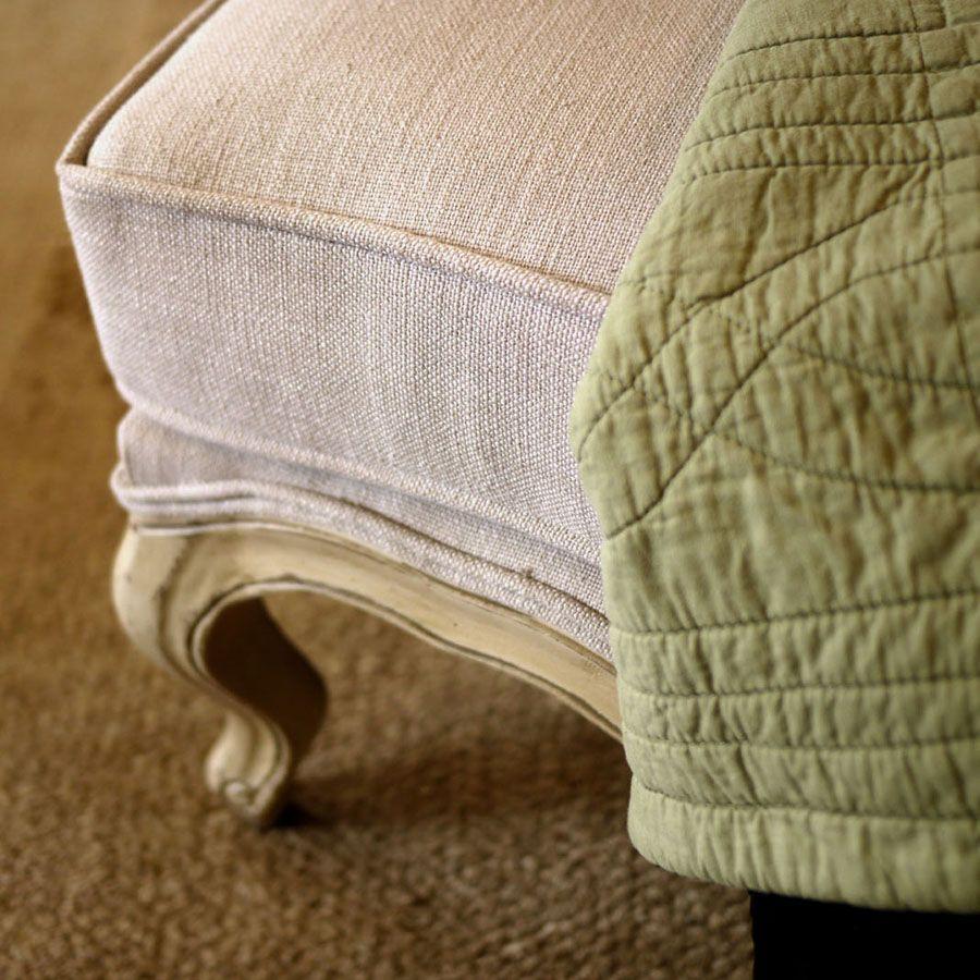 Pouf en frêne massif et tissu beige - Hector