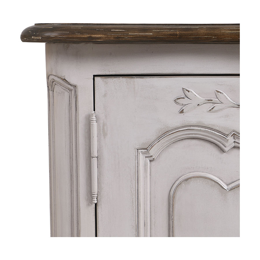 Buffet bas 2 portes en pin blanc opaline vieilli - Château