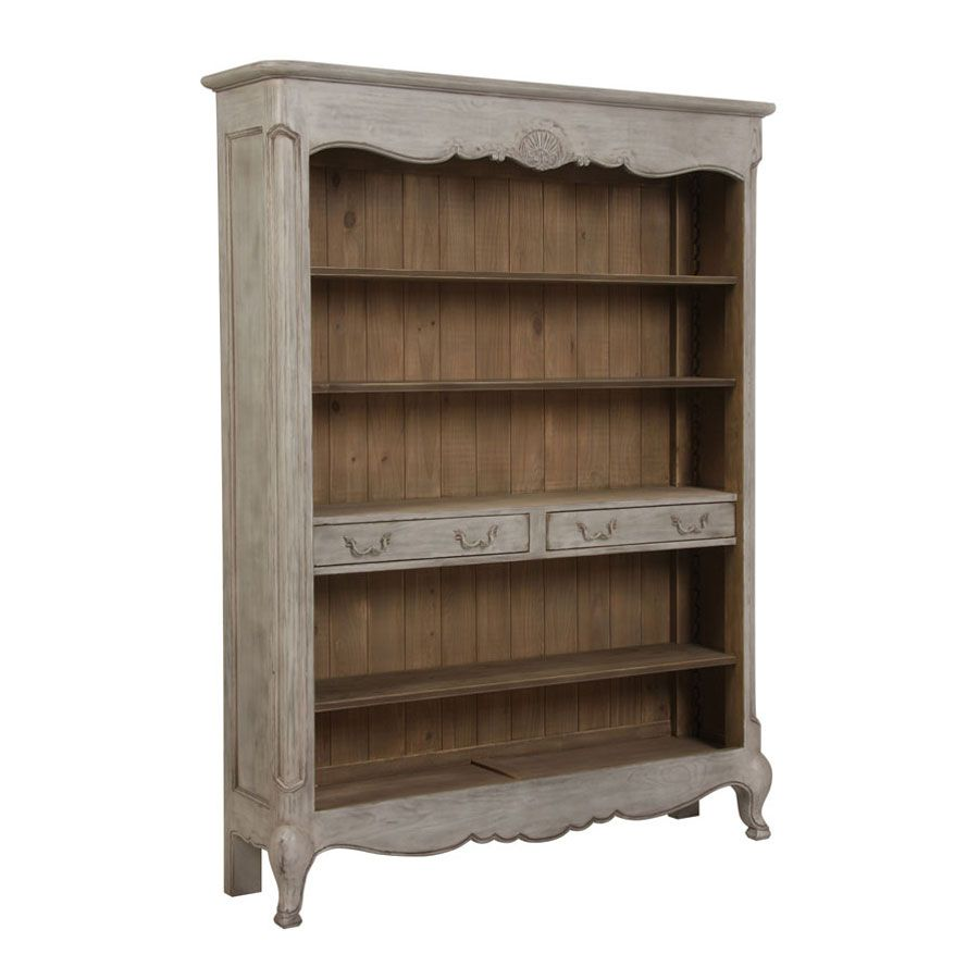 Bibliothèque 2 tiroirs en pin gris argenté - Château