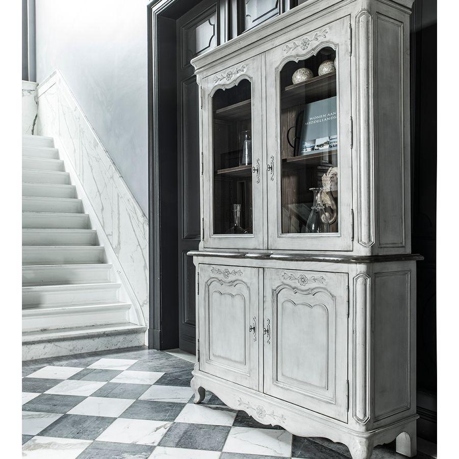 Buffet vaisselier 2 portes vitrées en pin gris argenté - Château