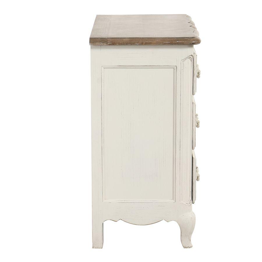 Commode 4 tiroirs en pin blanc vieilli - Château
