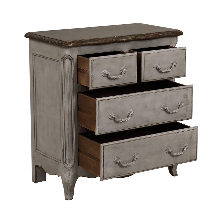 Commode 4 tiroirs en pin gris argenté L77 cm - Château
