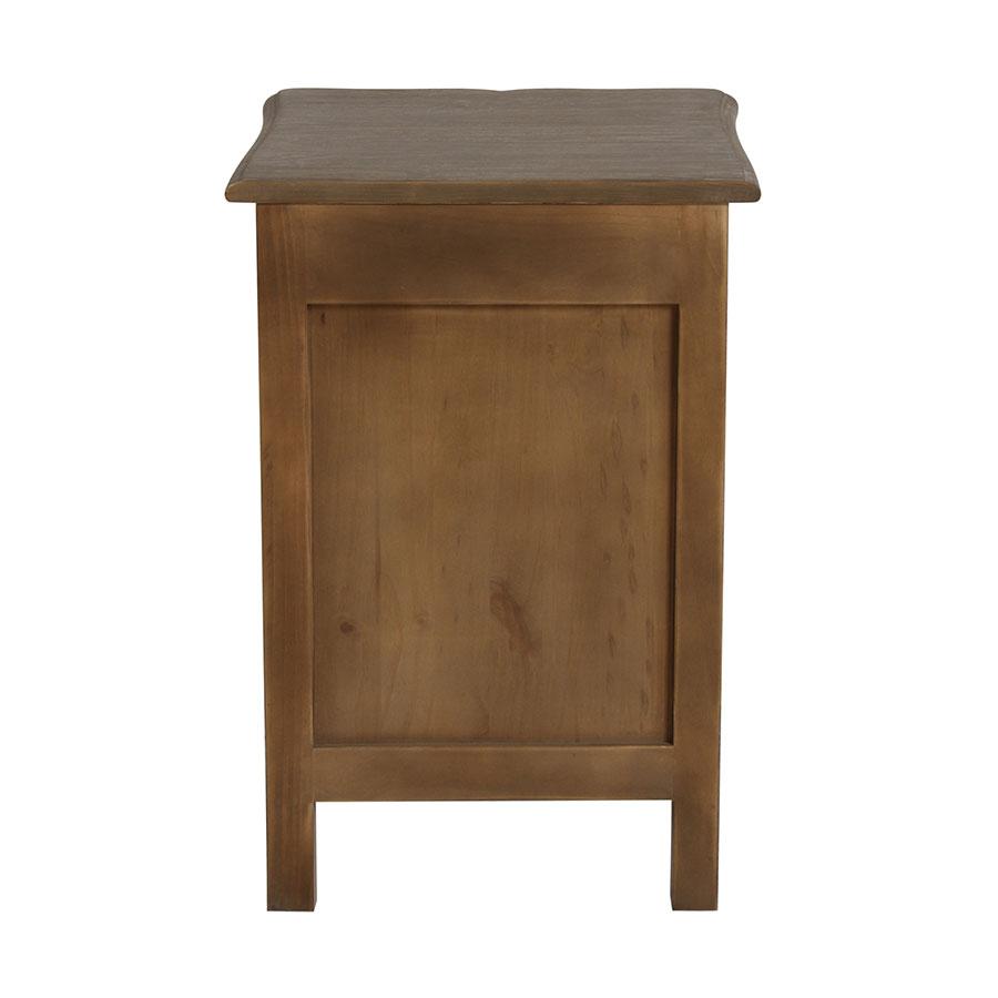 Table de chevet 1 porte 1 tiroir en pin gris argenté - Château