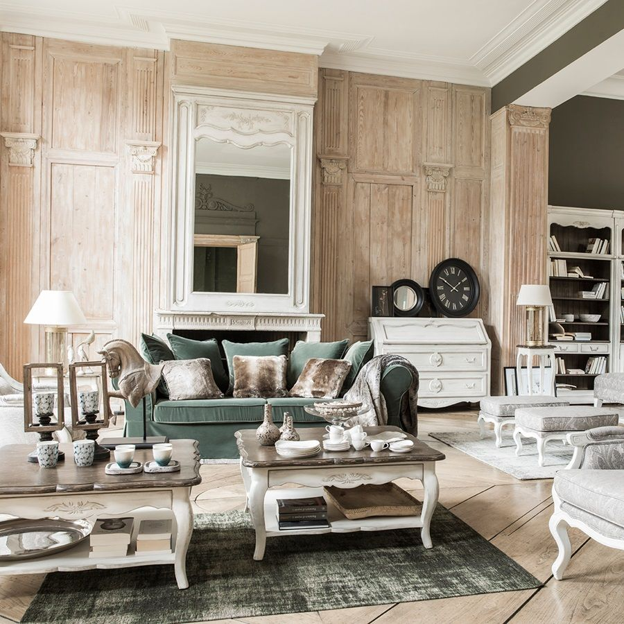 Table basse blanche carrée en pin avec rangement - Château